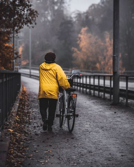 Rear view of man cycling on bicycle during autumn