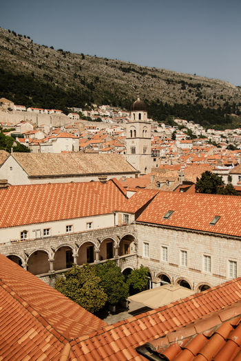 Dubrovnik skyline on history center from above Game Of Thrones Architecture Building Exterior Built Structure City Dubrovnik High Angle View House No People Outdoors Residential District Roof Roof Tile Sky Summer Sunlight Tourism Tourist Atrraction Town