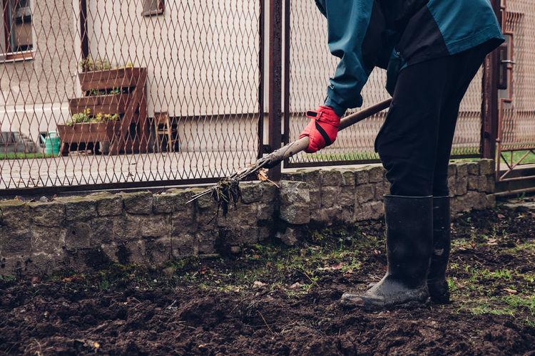 Man working at yard