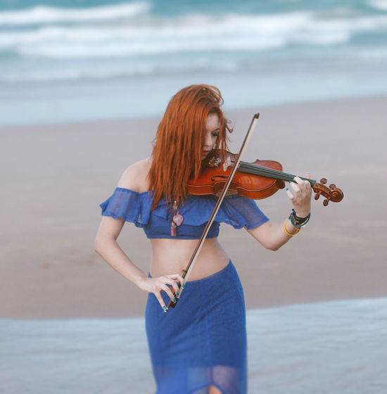 Beach Blue Girl Mermaid Music Nature Orange Outdoors Red Red Hair Red Lips Redhead Ruiva Sea Sky Tranquility Violin Violinist Water
