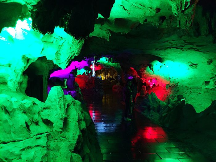 Colors and lights in cave Cave Rocks Rock Formation Colors Colorful Multicolors  Underground Lights HuangLongCave Huanglongdong Hunan China Colour Of Life Indoors  Interior Style Eyeemphoto