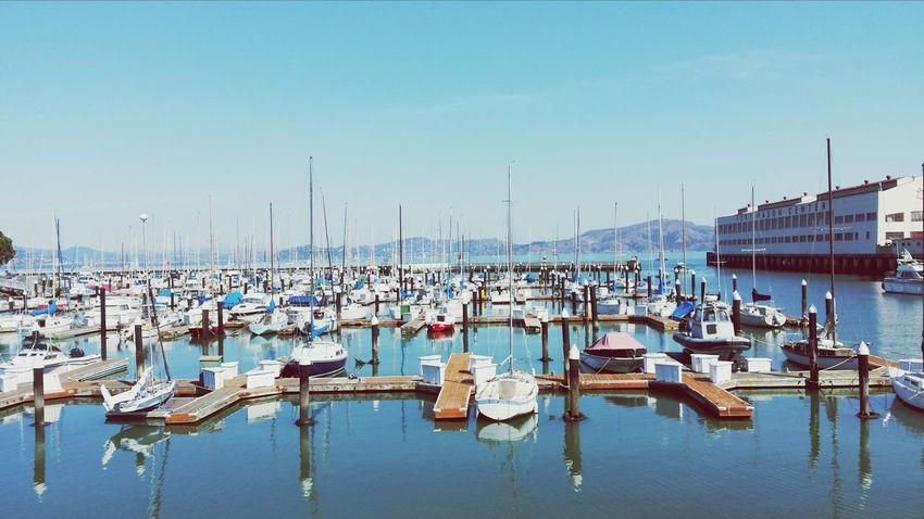 A beautiful clear SF morning at Marina San Francisco Water Reflections Boats Mirrored
