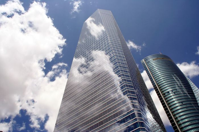 Architecture Low Angle View Modern Sky Building Exterior Built Structure Cloud - Sky Outdoors City Travel Destinations Tower Travel Scenics Tourism Landscape Madrid Spain 4 Torres Madrid Spain