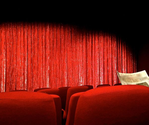 Chair Communication Culture Curtain Digital Media Film Industry Future Vision Indoors  Movie Theater Movie Theater Seats News Media Newspaper No People Old Media Old School Media Red Seat Storytelling Background For Quotes Presentation Background