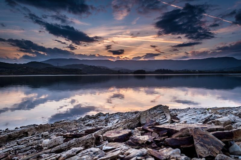 Water Sky Cloud - Sky Sunset Beauty In Nature Reflection Tranquility Scenics - Nature Lake Nature No People Mountain Environment Landscape Outdoors