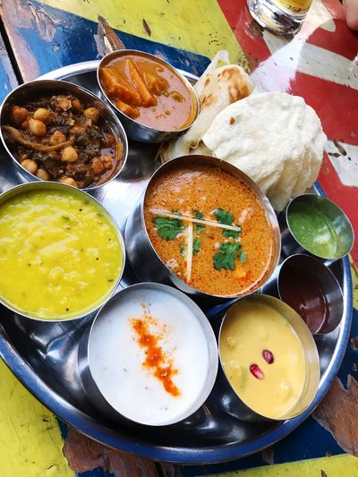 Indian Food Indian Indian Cuisine Chutney Thali Indian Food Food Food And Drink Ready-to-eat Freshness High Angle View Indoors  Still Life Meal Asian Food Curry