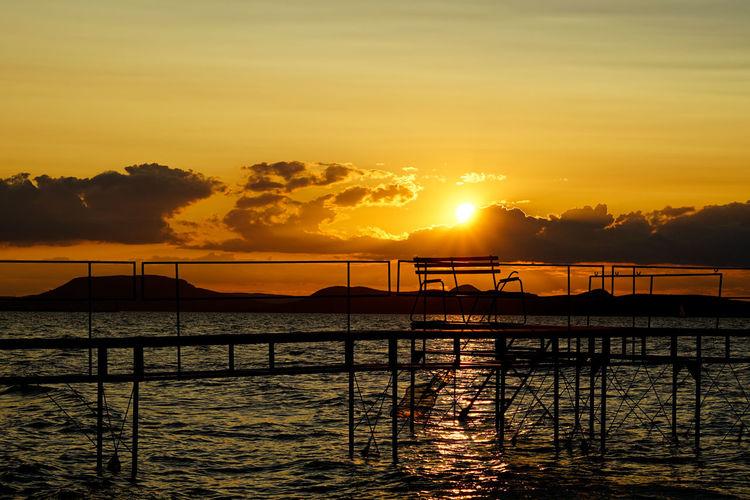 No People Beauty In Nature Holiday Balatonlelle Balaton Lake Balaton Hungary Sonnenuntergang