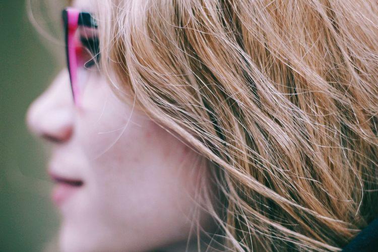 Color me pink Blond Hair Headshot Close-up Women Portrait Eyeglasses