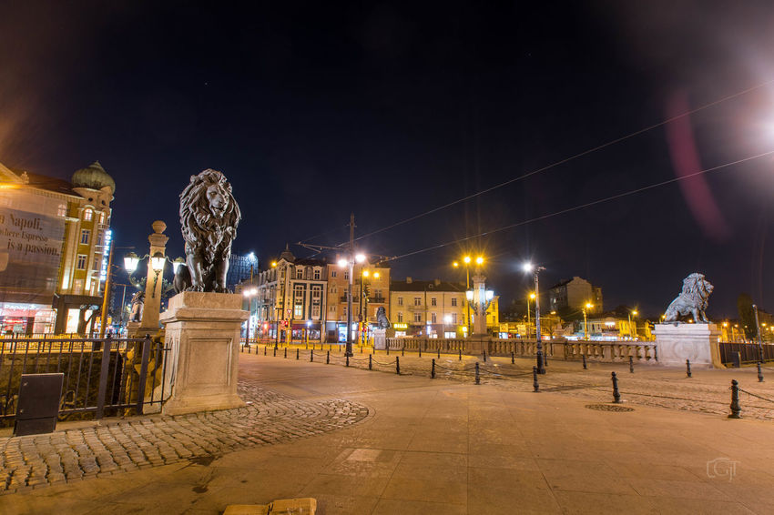 Sofia night - Lions' Bridge. Illuminated Night Architecture Built Structure Building Exterior City Street Sky The Past No People Street Light History Nature Building Travel Destinations Sculpture Statue Outdoors Human Representation