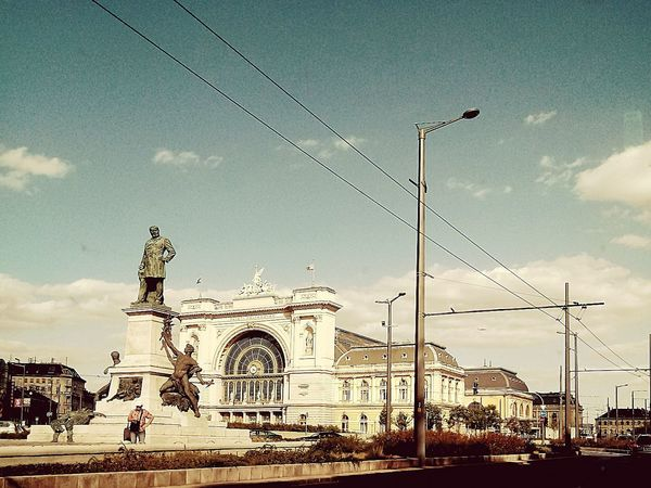 No People Arts Culture And Entertainment Outdoors City Day Sky Stone - Object Statue In The City Train Station Keleti Railway Station Keleti Pályaudvar City Life Budapest, Hungary Budapest Love