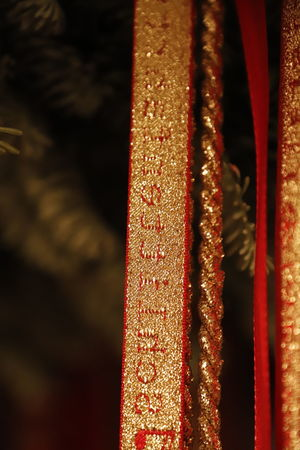 Christmas Christmas Ribbons Ribbons Ribbon Red Christmas Decoration Christmas Figures Christmas Tradition Decoration December Gold Textile Hanging Christmas Ornament Figurine  Close-up Focus On Foreground Indoors