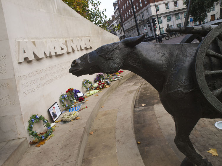 The Animals in War Memorial is a war memorial in Hyde Park, London. It is located on Park Lane, at the junction with Upper Brook Street, on the eastern edge of the park. The memorial was designed by English sculptor David Backhouse to commemorate the countless animals that have served and died under British military command throughout history. Park Lane Architecture City David Backhouse Day Elephant Horizontal Hyde Park, London Mammal No People One Animal Outdoors Sculpture Statue The Animals In War Tourism Tourist Attraction  Travel Travel Destinations Tree Vivid International War Memorial