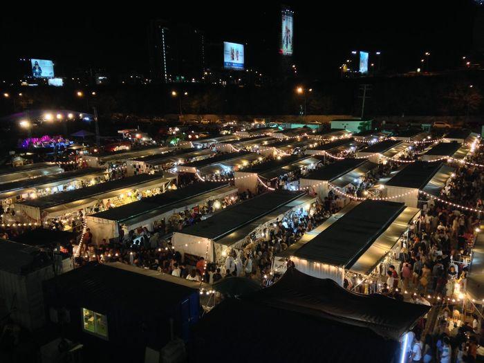 Flea market side view Flea Market Night Market Bangkok Thailand Art Box Container Shop