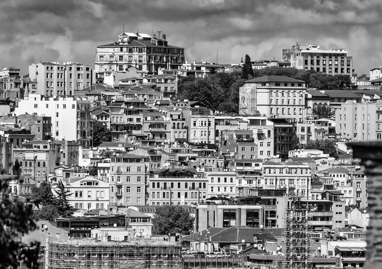 Residential building in the Galata quarter of Istanbul, taken from the Golden Horn, Black and white, bw Building Exterior Architecture Built Structure City Building Residential District Crowded Sky Crowd Cityscape Nature Day Outdoors Community Cloud - Sky House Tree High Angle View City Life Apartment Settlement TOWNSCAPE