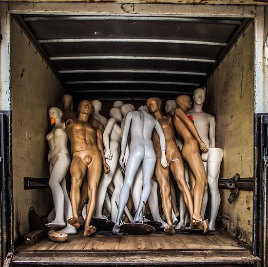 Truck load of mannequins Human Representation Statue Art And Craft Sculpture Male Likeness Mannequin Mannequins Plastic Headless Broken Travel Destinations People Female Human Body Part Streetphotography