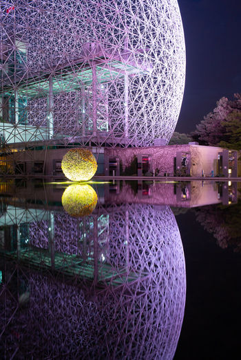 HUAWEI Photo Award: After Dark Architecture Building Exterior Built Structure Circle Decoration Geometric Shape Illuminated Lake Luxury Moon Nature Night No People Outdoors Reflection Shape Sky Sphere Travel Destinations Water