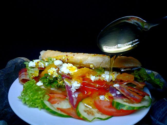 Food Sells Foodporn Bacon Grilled Mango GoatsCheese Honey Mustard Baguette Toasted Sandwich