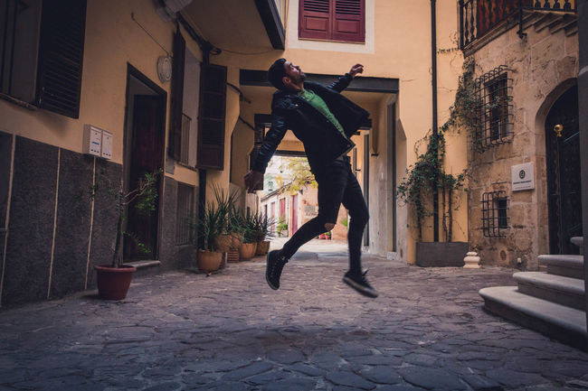 Levitation Architecture Casual Clothing Jumping Jumping Man Mid-air Motion One Person The Portraitist - 2018 EyeEm Awards