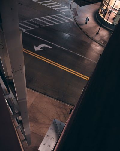 High angle view of airplane on road