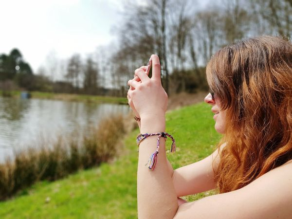Green Trees Nature Sunny Day Young Women Water Women Headshot Smiling Happiness Lake Close-up Sky