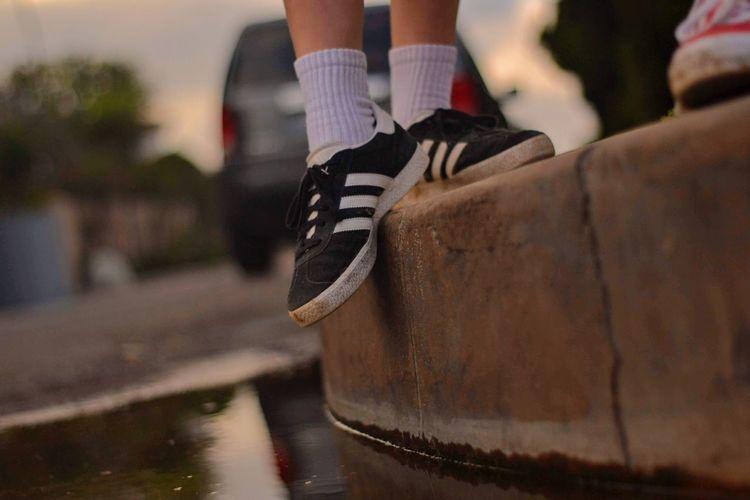 Adidas Adidasgazelle Adidasgazelles Vintagelook Waterreflection Waterreflections  Low Section Soccer Shoe Human Leg Shoe Water Close-up