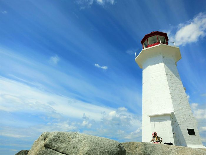 the rocky Edge Of The World beautiful day taking it all in Live In The Moment Lifeisbeautiful Wispy Clouds Lighthouse old lady playing tunesAccordion Peggyscove