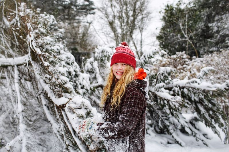 Winter Snow Cold Temperature Clothing Warm Clothing Tree Hat Portrait Happiness Smiling Nature Scarf Glove Snowing Holiday Knit Hat