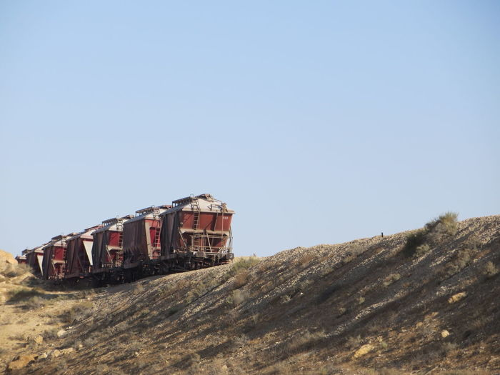 Low Angle View Of Train Against Clear Sky