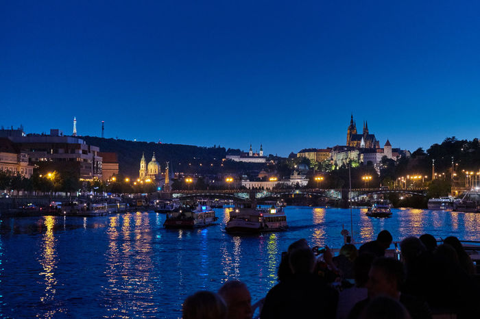 SONY A7ii Nachtaufname Himmel Spiegelung Nachtfotografie Prague Prague Czech Republic Architecture Blue Building Exterior Built Structure City Cityscape Illuminated Lifestyles Nautical Vessel Night Outdoors People River Sky Water