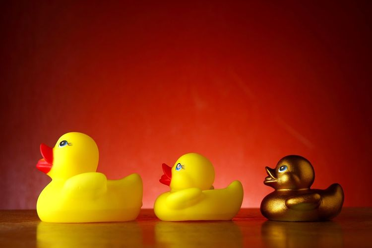 Close-Up Of Rubber Ducks On Table Against Red Wall