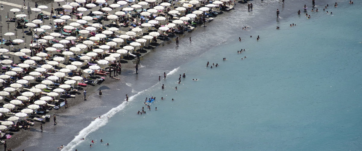 Aerial view of people in sea