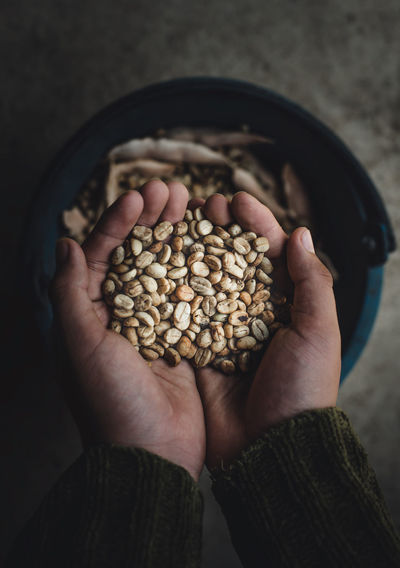 Cropped Hands Holding Coffee Beans