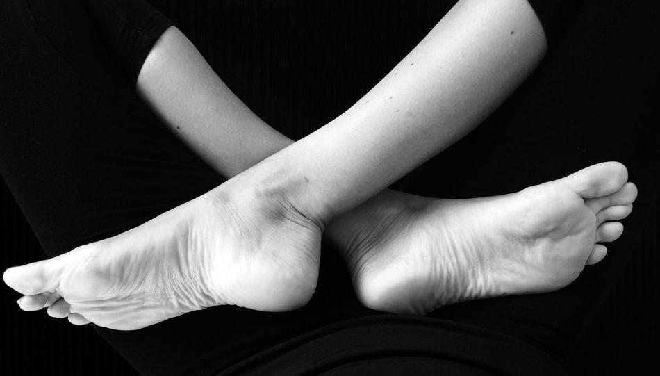 Beautiful ♥ Feet Yoga Relaxing Time At Home Blackandwhite B&W Portrait Barefoot