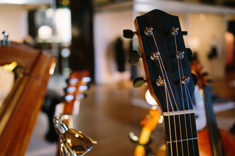 Music Acoustic Guitar Arts Culture And Entertainment Brown Close-up Focus On Foreground Guitar Indoors  Music Musical Equipment Musical Instrument Musical Instrument String No People Still Life String String Instrument