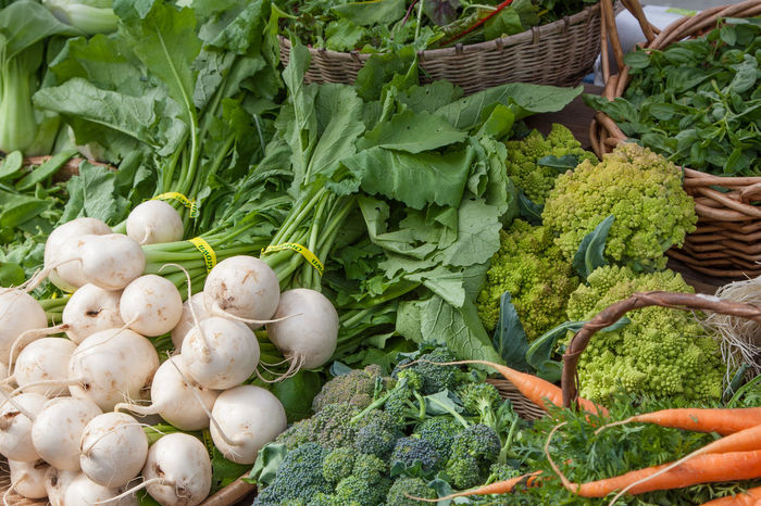 Broccoli Farm Stand Farmers Market Food Freshness Green Color Organic Raw Food Vegetables White Radish
