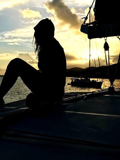 Sailing Sunset Sea Silhouette British Virgin Islands Caribbean Water Sailboat EyeEmNewHere Ocean Travel Marina Cay