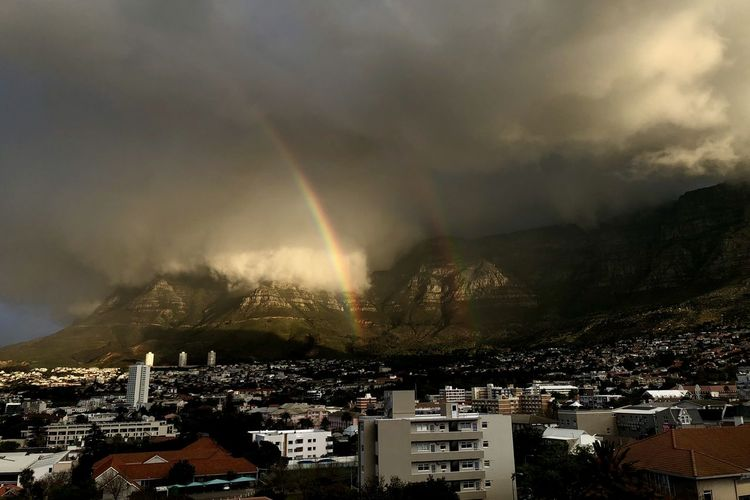 Aerial view of rainbow over city against sky