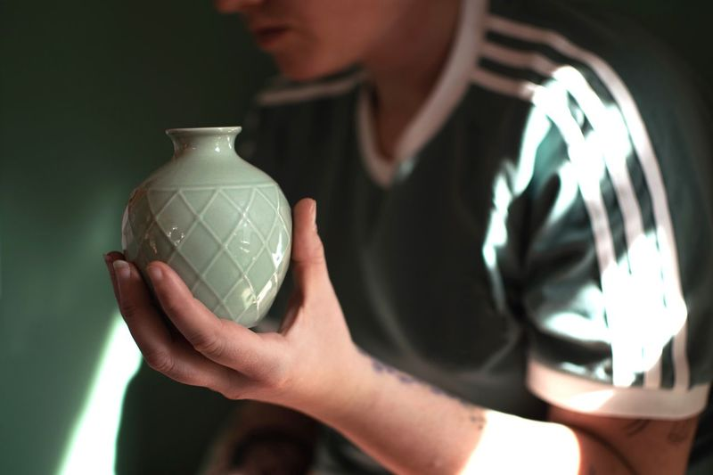 It's just a vase. Vase Green Color Green One Person Human Hand Human Body Part Hand Art And Craft Container Focus On Foreground Holding Craft Creativity Close-up Ceramics Indoors  Men Women Real People