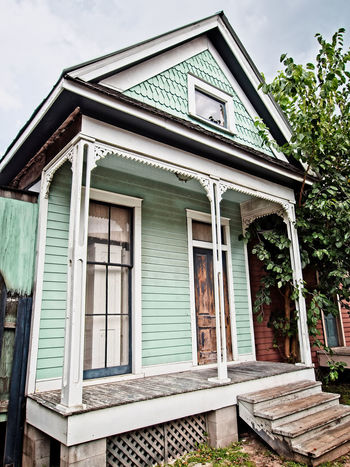 Mint Green Old House Architecture Building Exterior Built Structure Day House Mint Green No People Outdoors Sky Tree