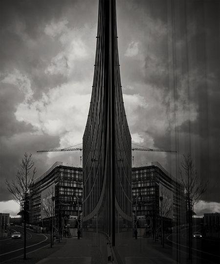 Monochrome Blackandwhite Urban Geometry Window Reflections