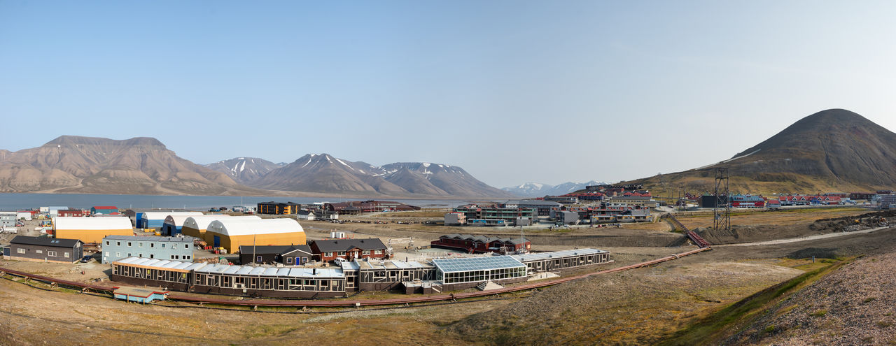 Panoramic View Of Land And Mountains Against Clear Sky