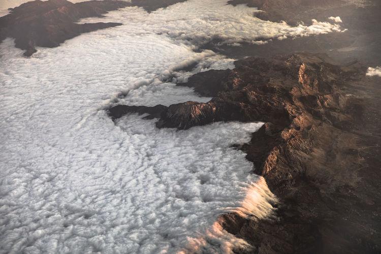 High angle view of volcanic mountain