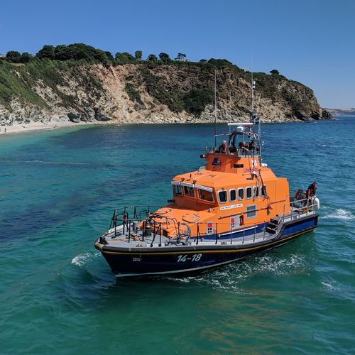 The lifeboat in Charlestown, Cornwall Cornwall Lifeboat Poldark EyeEm Selects Water Nautical Vessel Tree Sea Clear Sky Sailing Beach Sky Seascape Shore Rocky Coastline Boat Ocean Coastline Coast