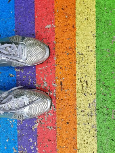 Multi Colored Backgrounds Full Frame Textured  Powder Paint Stripes Shoes Silver Shoes Sneakers Feet Shoes Only Crossing Crossing The Street Woman's Feet Woman's Footwear Flag in London Uk