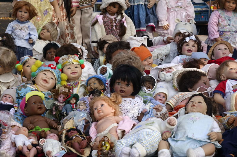 Boys Childhood Day Dolls Fleamarket Full Frame Girls Large Group Of People Looking At Camera Men No People Outdoors People Portrait Real People Realistic Toys