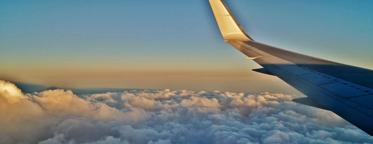 Airplane Flying High Flying Clouds Sunset Sky Sky And Clouds