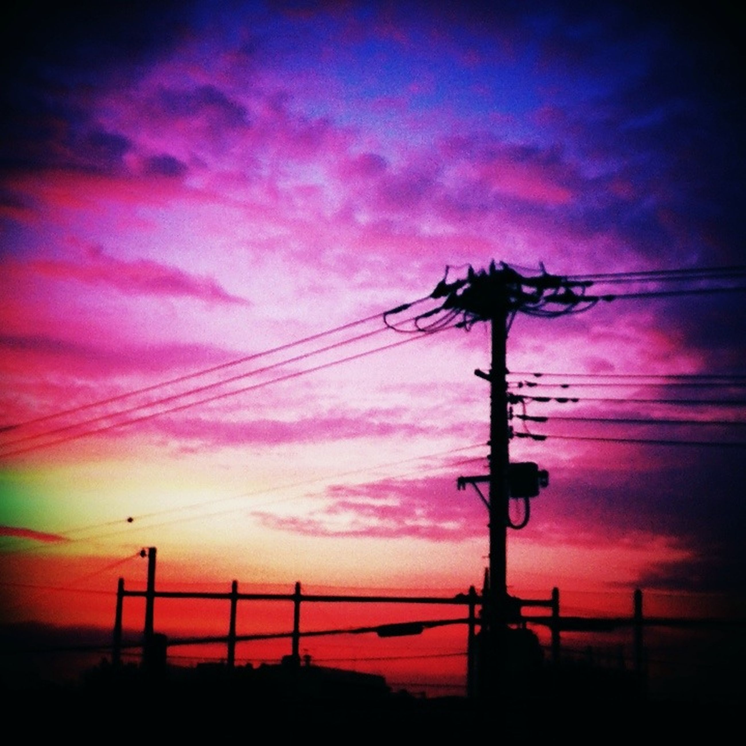 sunset, sky, power line, silhouette, low angle view, electricity pylon, power supply, connection, electricity, cloud - sky, cable, fuel and power generation, technology, beauty in nature, orange color, cloudy, nature, tranquility, dusk, cloud