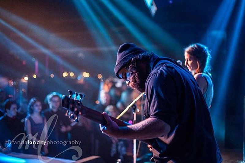 Awesome shot from @raw_artists_vancouver show Merge featuring @nikitaafonso and band at @celebrities_van RawArtists Vancity Vancouvermusic vancouverphotographer stagelights guitar band livemusic concert music MirandaLandryPhotography