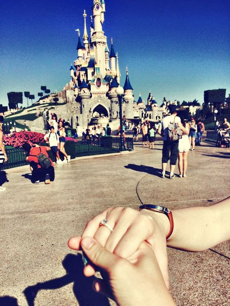 My Year My View She said YES! Disneyland Paris Weregettingmarried Happiness 2016 Love Cloud - Sky Memories Magical Sun Together Forever Beautiful Day Tearsofjoy Human Hand