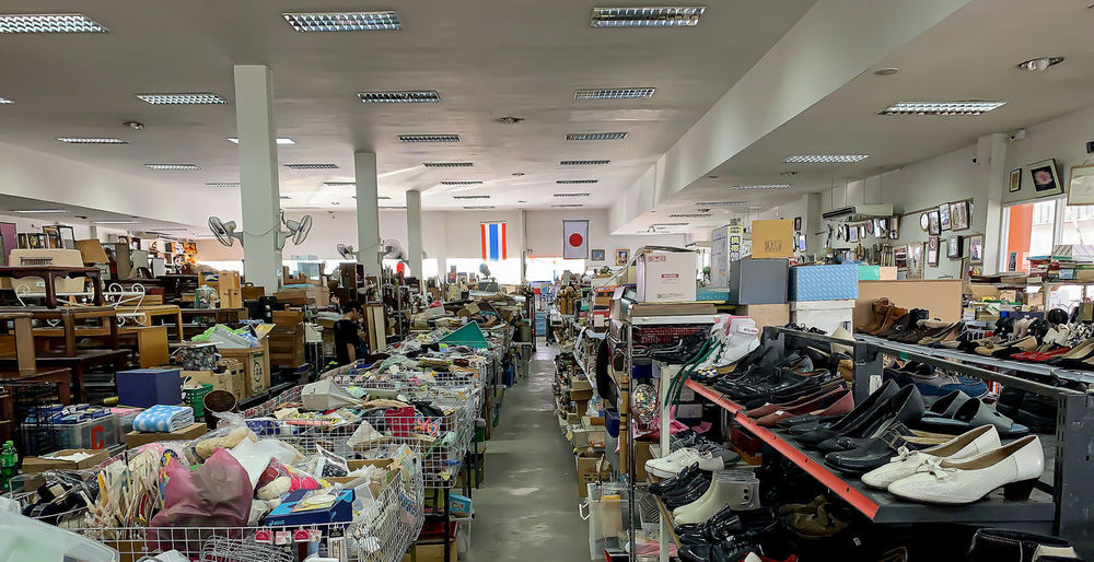 Panoramic view of illuminated store